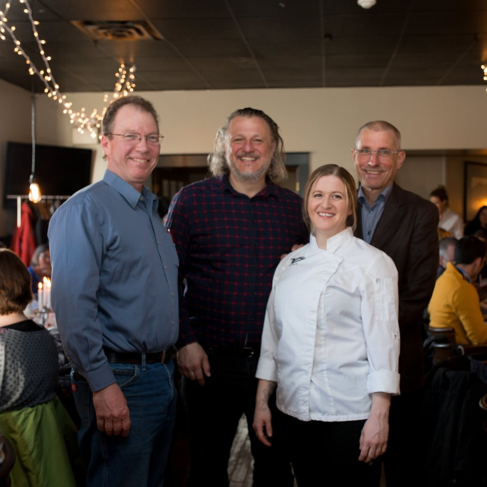 At the  Remarkable Honey Food Experience  are, f rom L to R; Glen Ackroyd of   Ackroyd's Honey  , Pier Donini and Kate Brewer of   The Queens Bar and Grill   and Norm Charbonneau of   Hi-Berry Farm