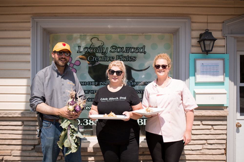 Luke Charbonneau of  Hi-Berry Farm  with Chef Kendra Smith and Chef Stacey Hull of  Little Black Dog