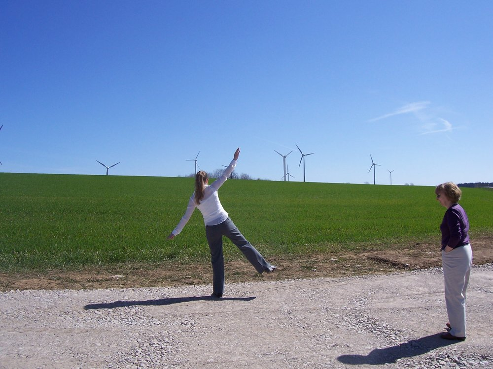 Loreen and Norma enjoying a wind farm on the way to the Ratags factory