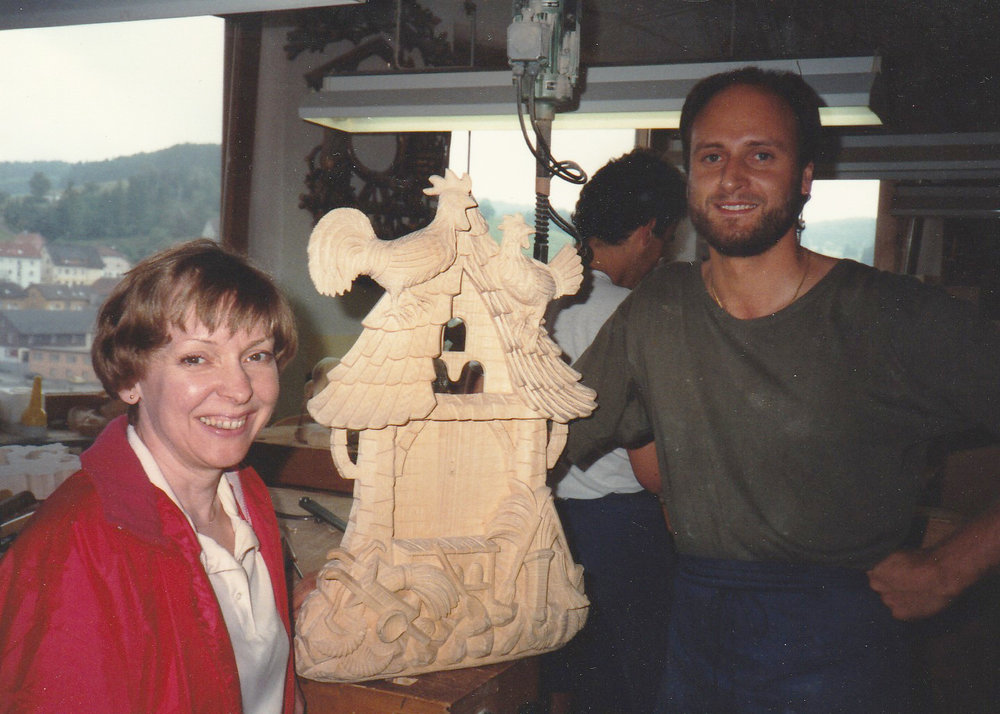 Summer 1991 - The Costas take their first buying trip to Germany, starting a direct import relationship with Schneider Cuckoo Clocks.