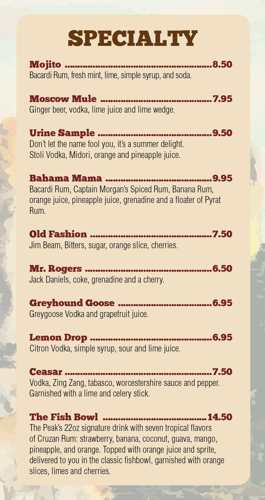 Bar Menu Pg 2
