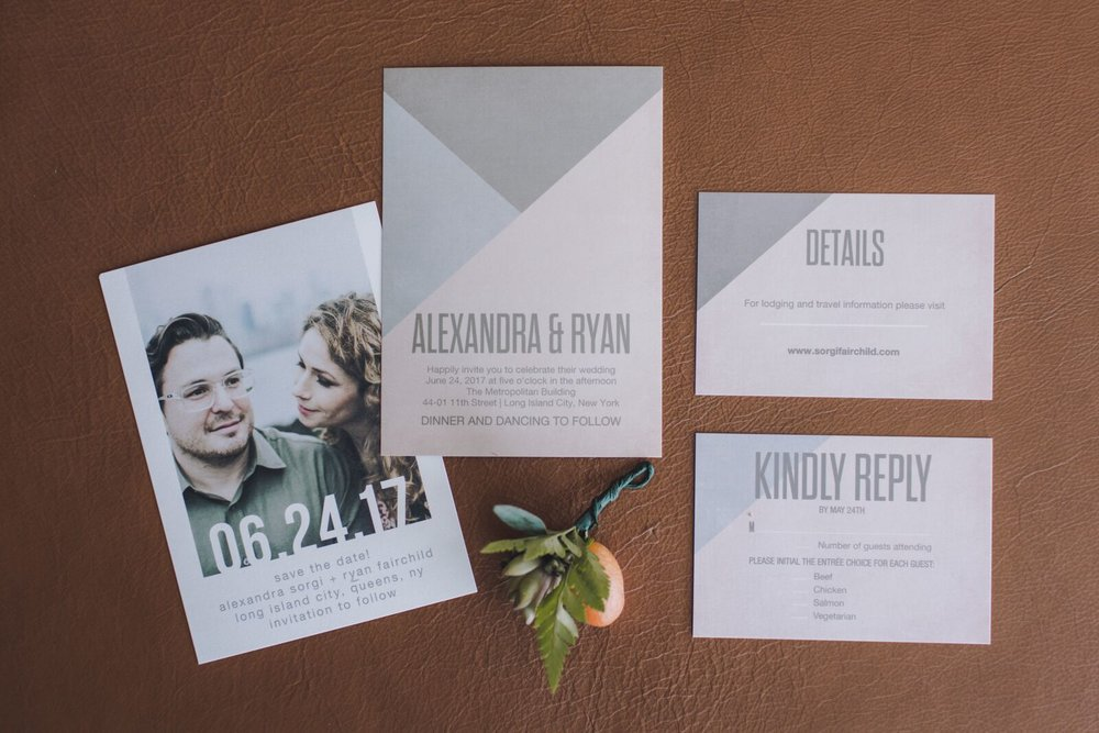 Ryan and Alex Long Island City Bride and Groom Couple Sustainable Eco-friendly wedding celebration invitations