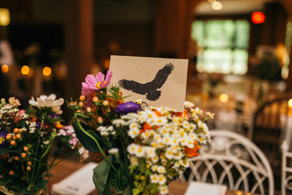 Rustic Wedding at Waterloo Village, Stanhope New Jersey, with flowers from Whole Foods and animal table decor