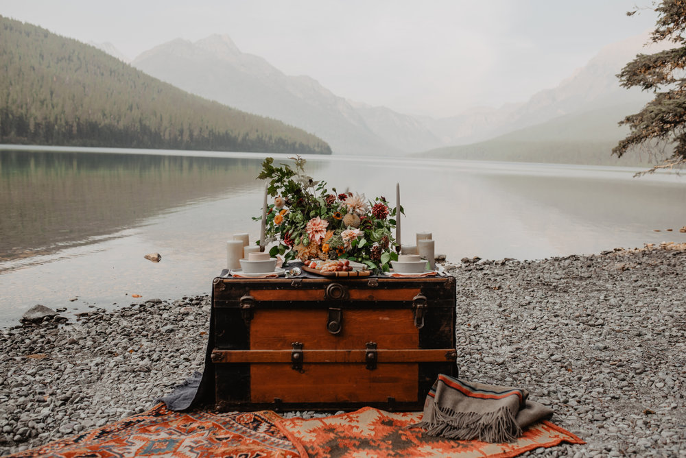 Sustainable Flower Arrangement Glacier National Park MT Renewable and Sustainable Outdoor Elopement Couple