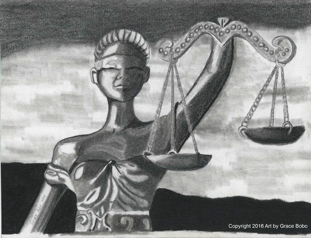 Justice is Blind | Graphite | 9x12