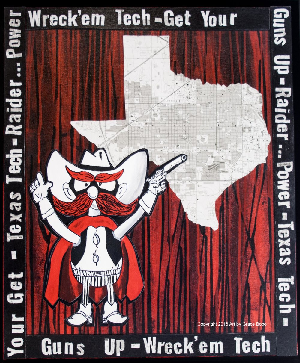 Red Raider | Acrylic, Ink and Collage on Canvas | 20x24
