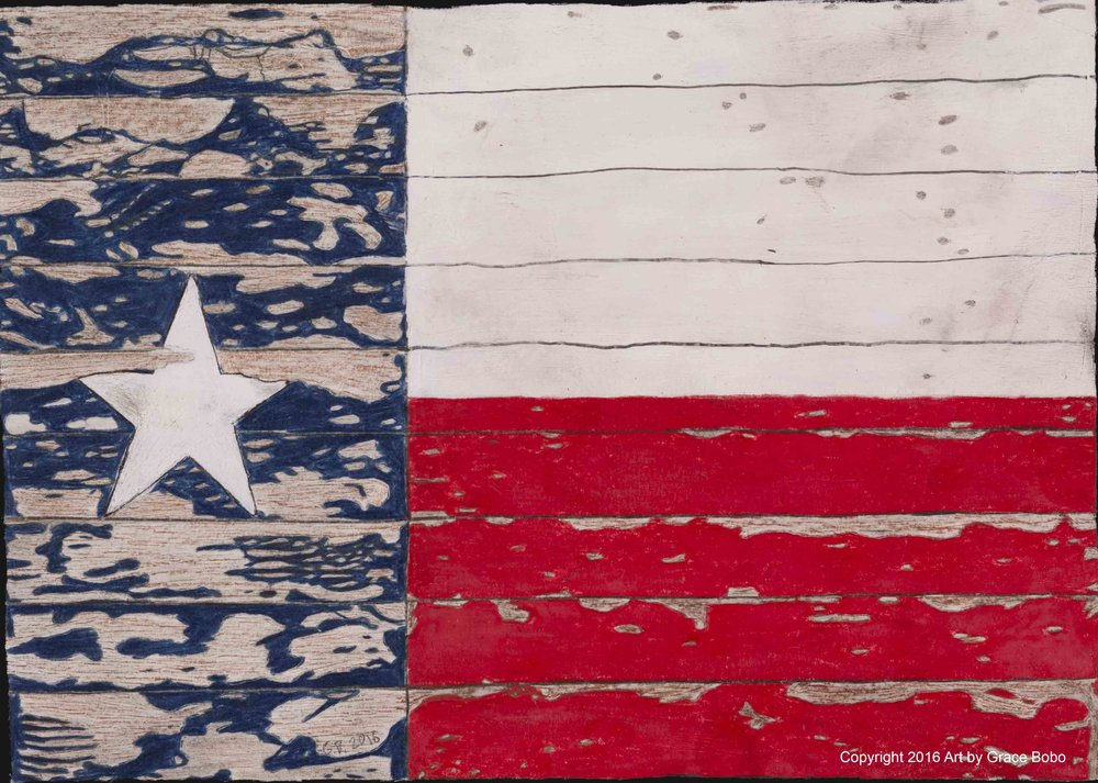 Texas Flag | Colored Pencil | 14x11