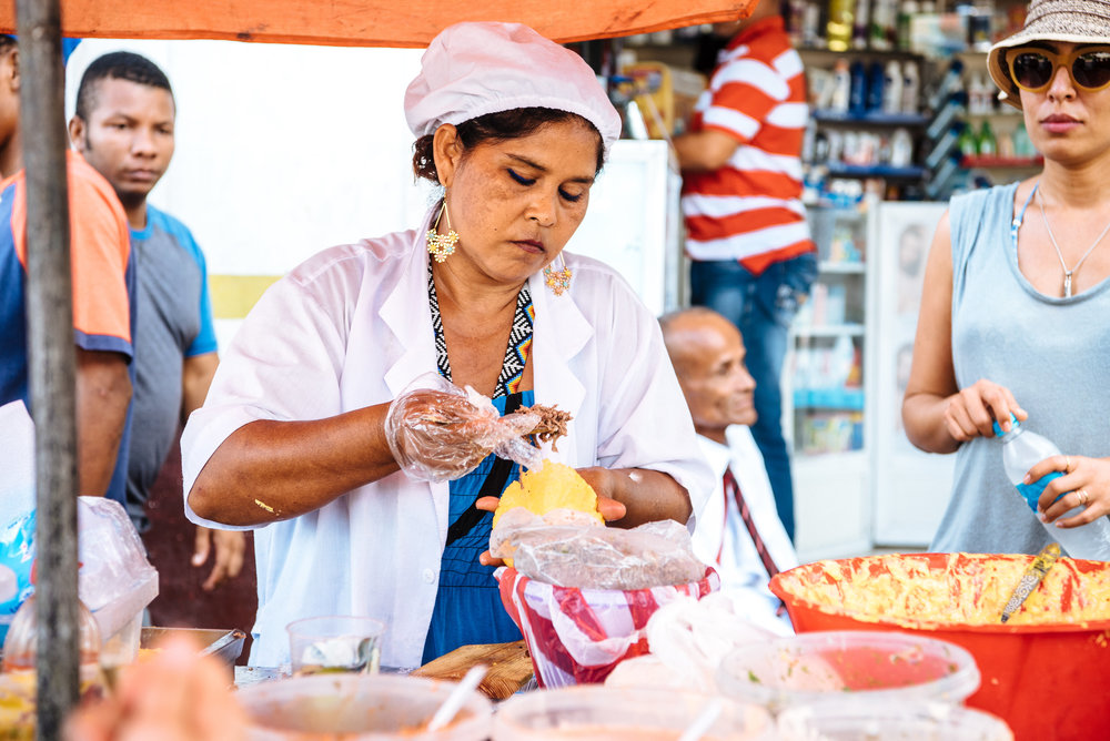 Cartagena street food arepa Boutique Colombia