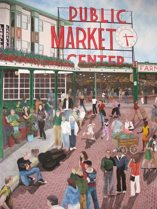 Pike's Marketplace, Washington State 12x18' acrylic on canvas SOLD