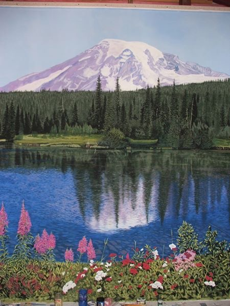 Mount Rainier 10x17' acrylic on canvas SOLD