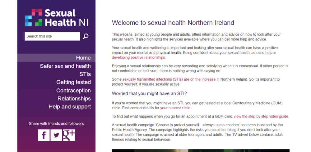 Sexual Health NI - Sexual Health NI provides a directory of resources and services provided in Northern Ireland.