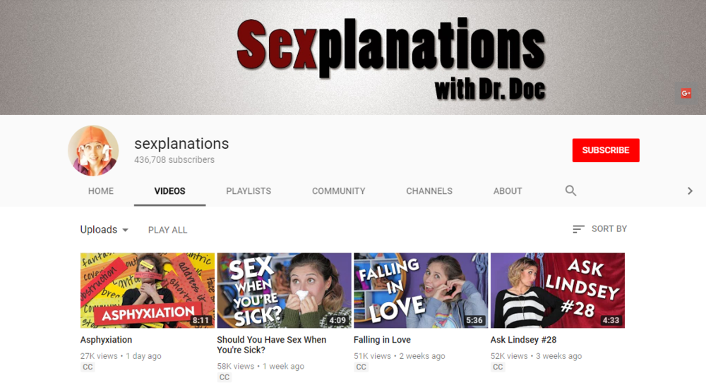 Sexplanations - Dr Lindsey Doe creates short videos on all kinds of sex and relationships topics, inlcuding ones you might be embarrassed to ask about.