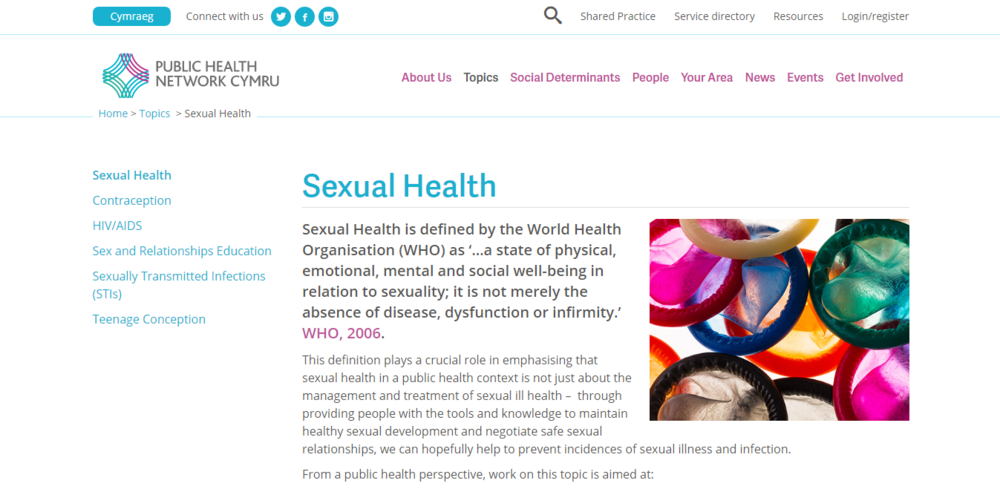Public Health Network CYmru - Sexual health advice for Wales and resources from FPA, Public Health Wales and more.