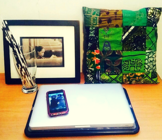 Tech life: My beloved MacBook and iPhone with some Namibian porcupine quills just behind.