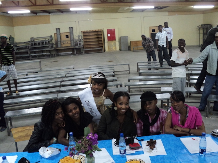 That's me in the middle volunteering as a judge for a school pageant.