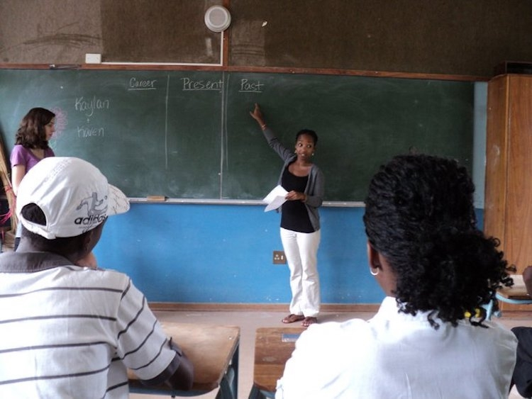That's me practice teaching my second week in Namibia.
