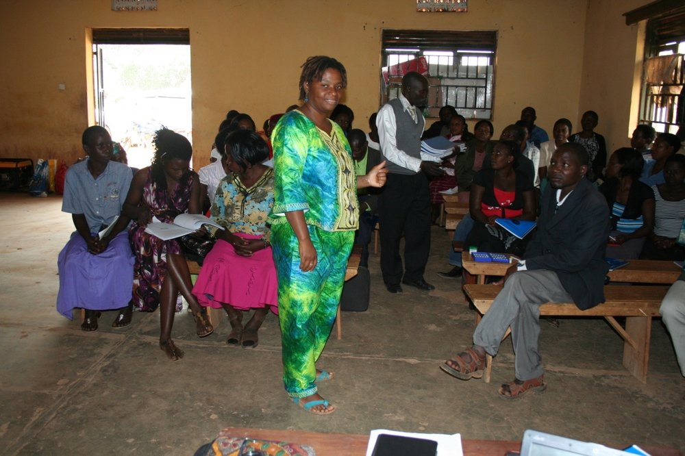 Michelle teaching homepathy in Rugumbe, Uganda.
