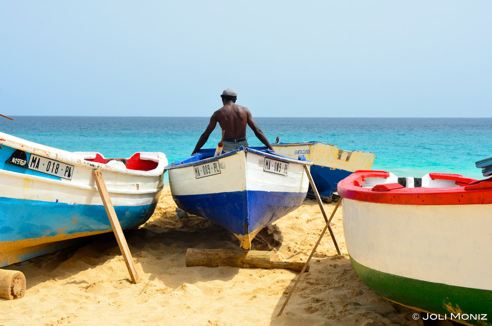Fishing boats on a local Cabo Verdean beach. Credit : Joli Moniz