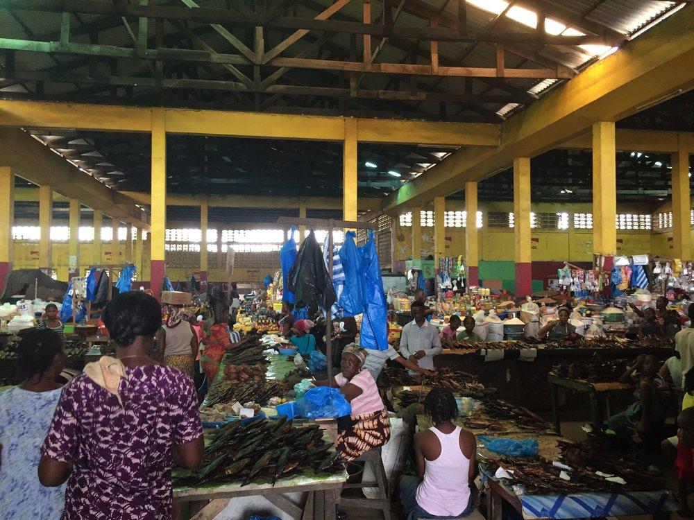 A food market in Monrovia.