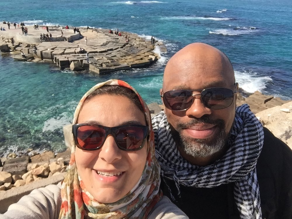 Noora and Muhammad at the Citadel of Qaitbay, overlooking the Mediterranean Sea.