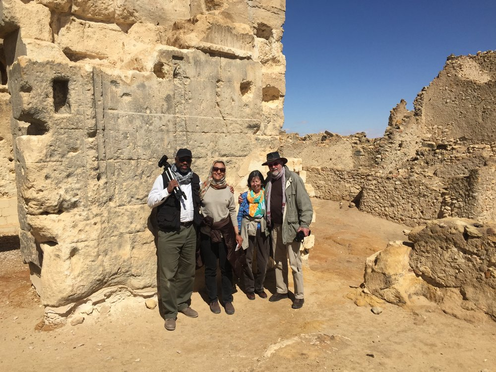 Noora and Muhammad with friends Hans and Erica at the Temple of the Oracle which Alexander the Great visited while in Egypt.