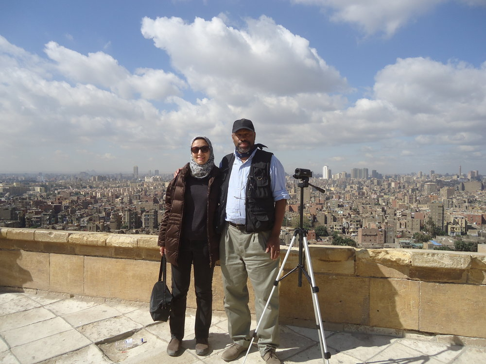 Noora and Muhammad at the Saladin Citadel, overlooking greater Egypt and the pyramids.
