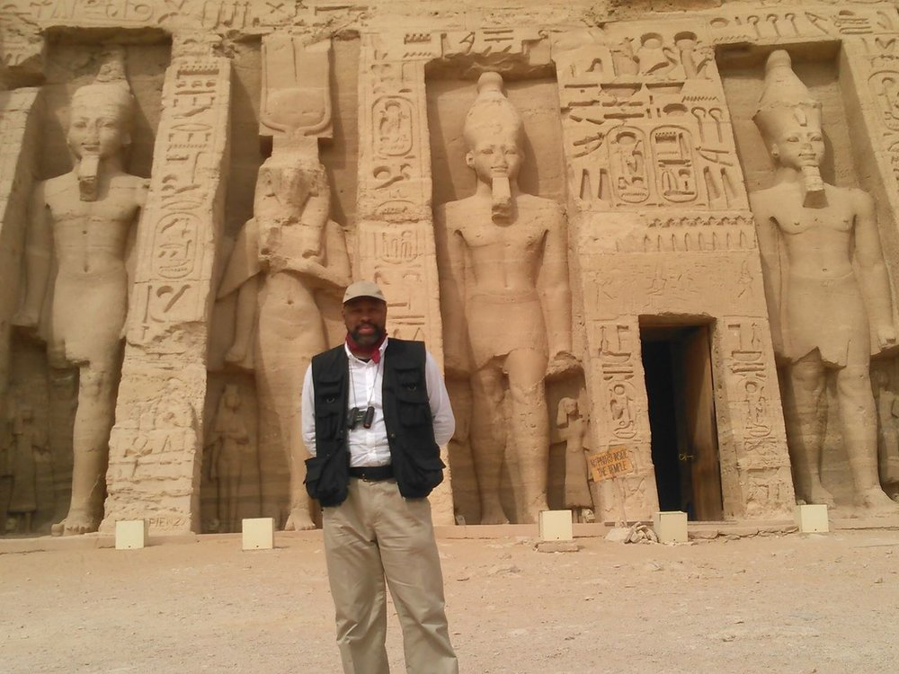 Muhammad at the temple of Hathor and Nefertari during his 2016 trip to Egypt.
