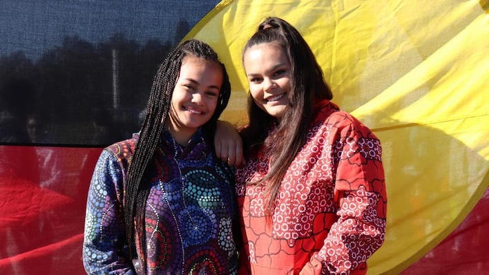 Mi-Kaisha, with her sister Kiki (left), sang on stage at the NAIDOC event at Jamison Park in Penrith on Friday. Picture: Danielle Jarvis