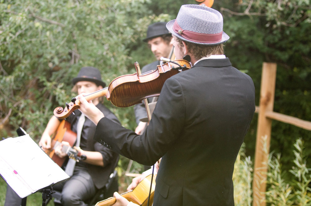 Live Band with Violins at Outdoor Wedding | Farm Wedding Photographer | Apollo Fields Wedding Photojournalism