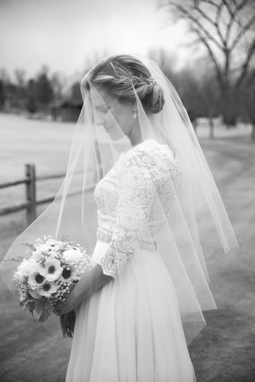 Black and White Bride Photo with Veil | Mary and Brad's Outdoor Wedding at Hudson Gardens | Colorado Springs, Colorado | Farm Wedding Photographer | Apollo Fields Wedding Photojournalism