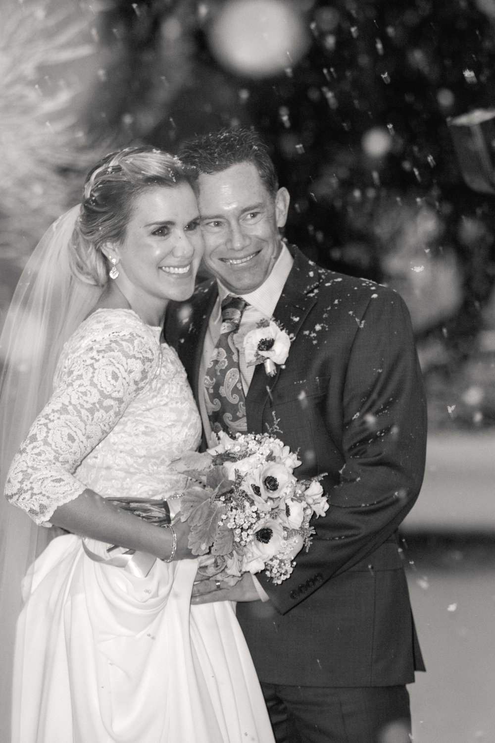 Bride and groom black and white smiling | mary and brad's Outdoor wedding photography at Hudson Gardens | Farm Wedding Photographer | Apollo Fields Wedding Photojournalism