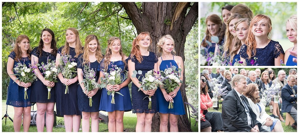 Bridal Party Blue Dresses | Bethany and Jono's Intimate DIY Wedding | Colorado Springs Wedding Photographer | Farm Wedding Photographer | Apollo Fields Wedding Photojournalism