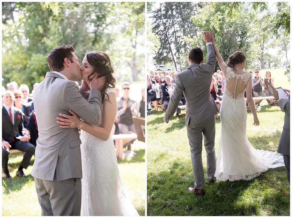 Adorable Bride and Groom Kissing | Bethany and Jono's Intimate DIY Wedding | Colorado Springs Wedding Photographer | Farm Wedding Photographer | Apollo Fields Wedding Photojournalism