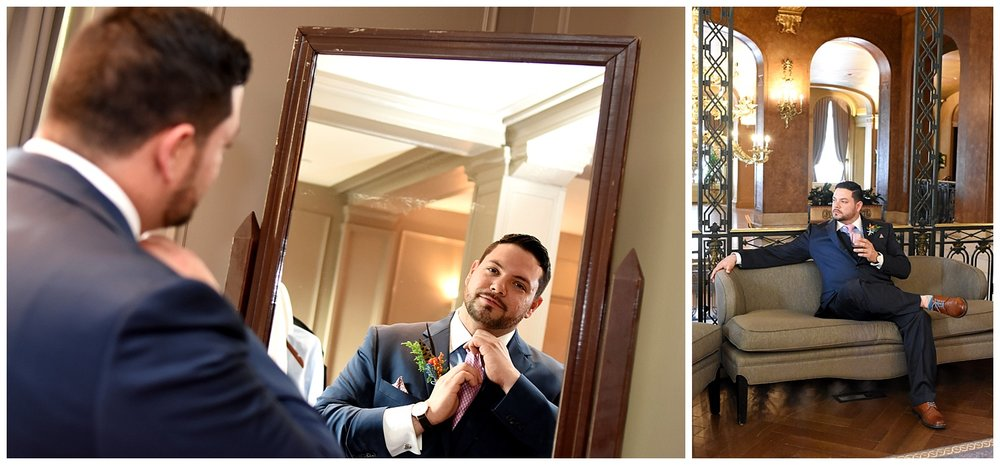 Man Looking in Mirror | Intimate Wedding Photographer | Chateau de Frontenac | Quebec City Wedding Photographer | Farm Wedding Photographer | Apollo Fields Wedding Photojournalism