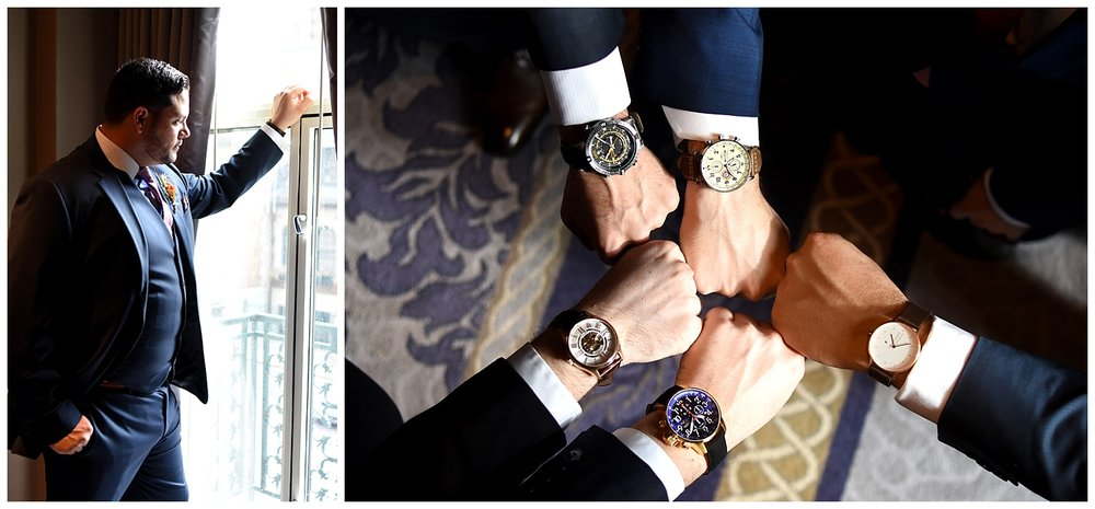Groom & Groomsmen's Watches| Intimate Wedding Photographer | Chateau de Frontenac | Quebec City Wedding Photographer | Farm Wedding Photographer | Apollo Fields Wedding Photojournalism