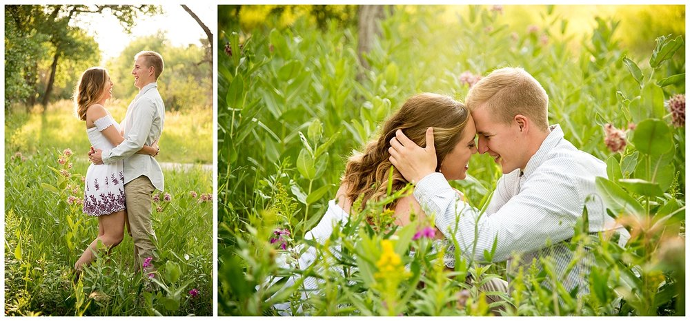 Young Couple Embracing in the Sun and Flowers| Allison and Mike's Intimate Engagement Session | Clear Creek Arvada Colorado | Farm Wedding Photographer | Apollo Fields Wedding Photojournalism