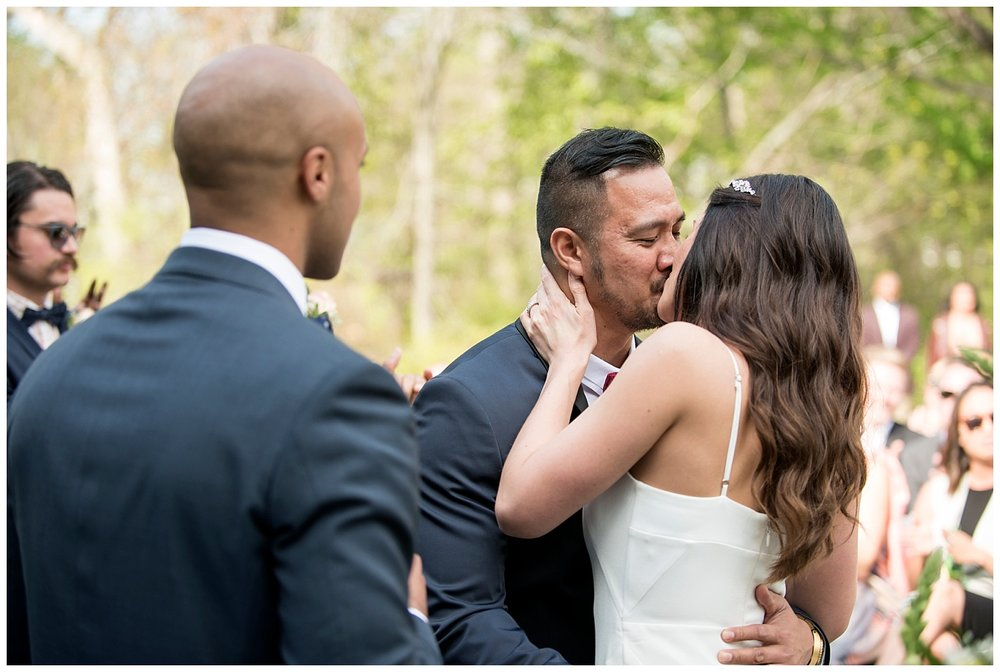 Bride & Groom Kissing at Altar | Intimate Wedding Photographer | New York State Wedding Photographer | Farm Wedding Photographer | Apollo Fields Wedding Photojournalism