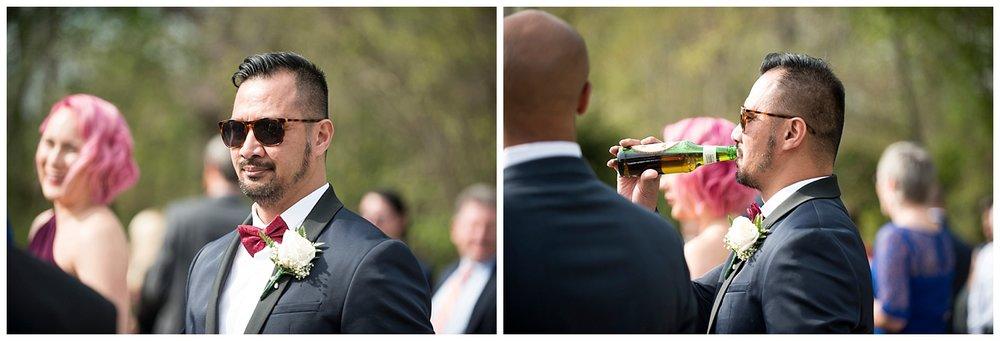 Groom with Sunglasses   Intimate Wedding Photographer   New York State Wedding Photographer   Farm Wedding Photographer   Apollo Fields Wedding Photojournalism