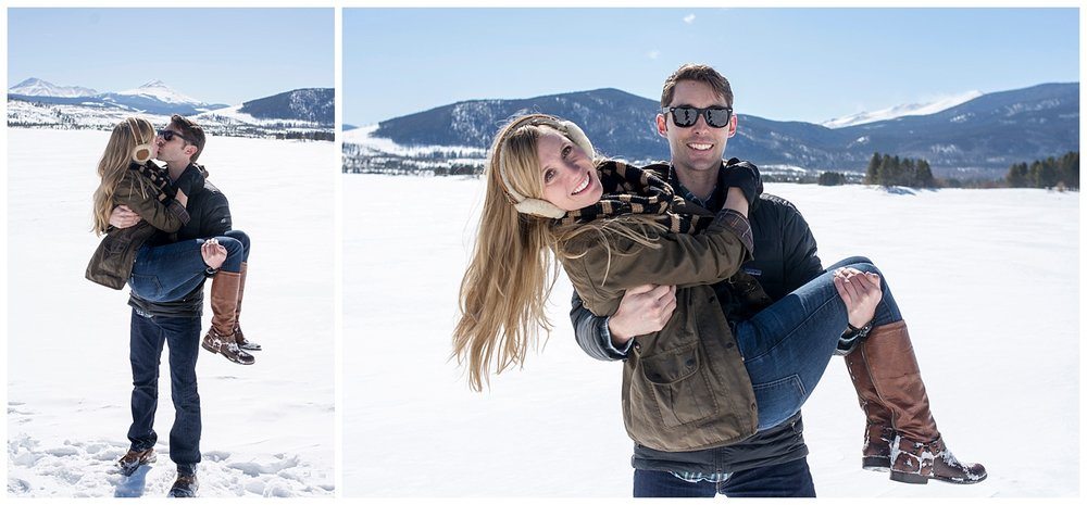 Man Holding Woman in Arms | Lake Dillon Colorado Engagement Photographer | Farm Wedding Photographer | Apollo Fields Wedding Photojournalism