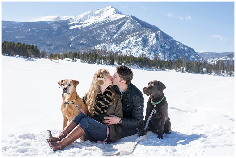 Couple Kissing in the Snow | Lake Dillon Colorado Engagement Photographer | Farm Wedding Photographer | Apollo Fields Wedding Photojournalism
