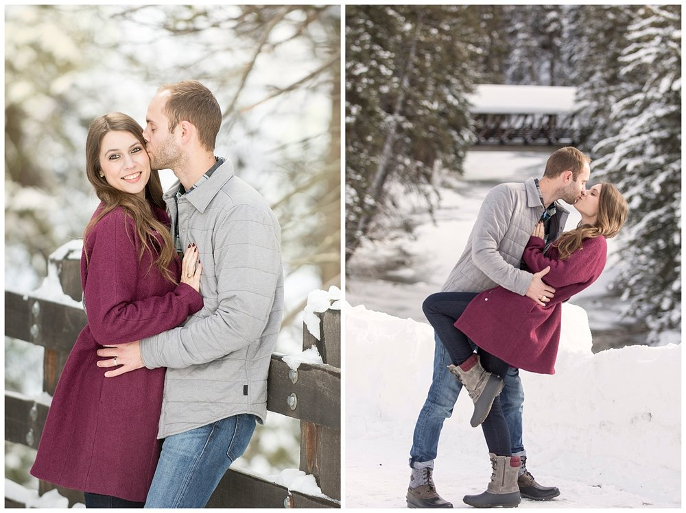 Man Kissing Woman in Snow | Breckenridge Engagement Photography | Colorado Engagement Photographer | Farm Wedding Photographer | Apollo Fields Wedding Photojournalism