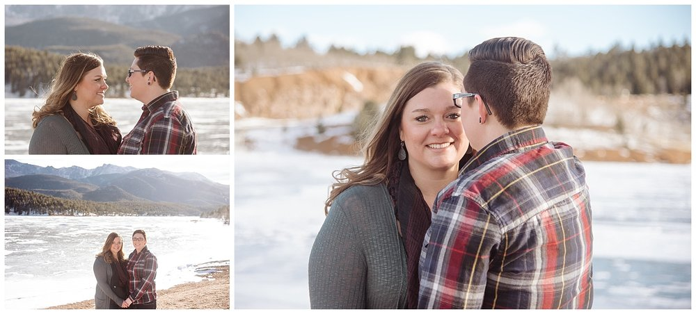 Young Lesbian Couple Making Eye Contact | Jenny and Tara's Epic Mountain Engagement Session | Pikes Peak, Colorado Photography | Farm Wedding Photographer | Apollo Fields Wedding Photojournalism
