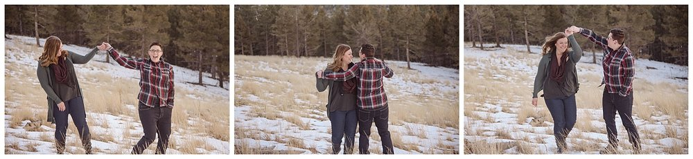 Young Lesbian Couple Having Fun | Jenny and Tara's Epic Mountain Engagement Session | Pikes Peak, Colorado Photography | Farm Wedding Photographer | Apollo Fields Wedding Photojournalism