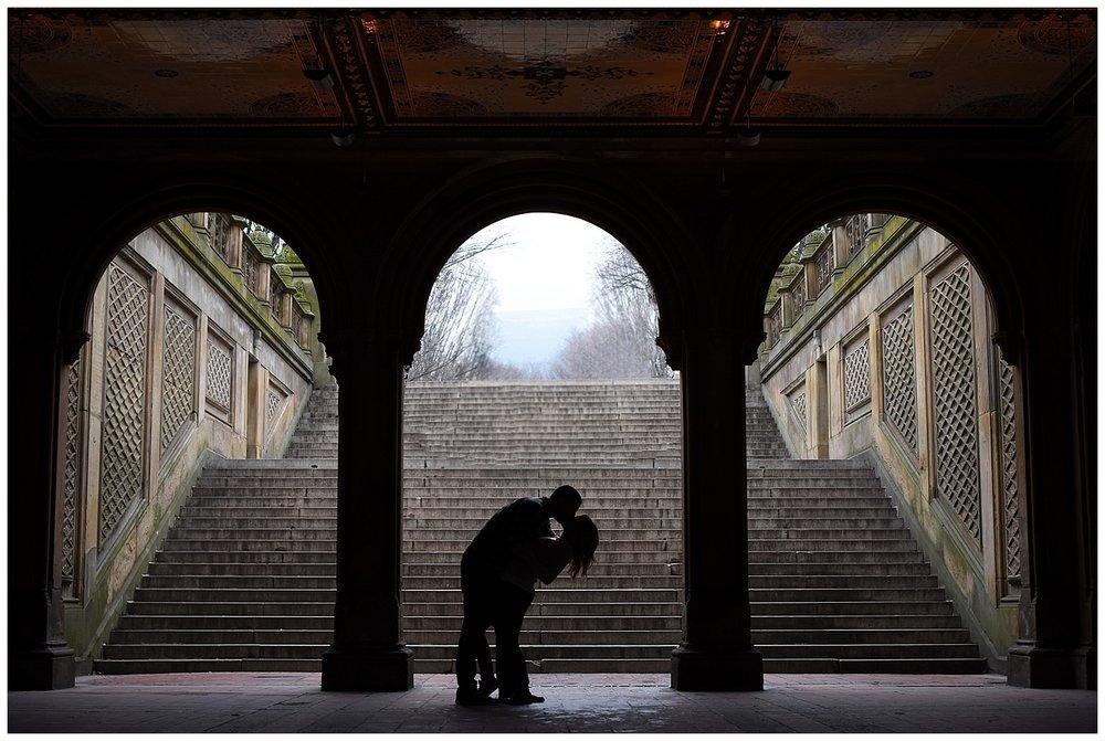 Silhouettes Kissing | Central Park Engagement Photographer | Bethesda Fountain Photography | Farm Wedding Photographer | Apollo Fields Wedding Photojournalism