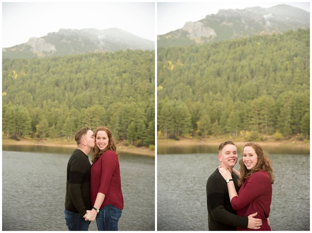 Kissing in Front of Lake During Mountain Engagement | Don & Aliyah's Mountain Engagement Photography | Farm Wedding Photographer | Apollo Fields Wedding Wedding Photojournalism