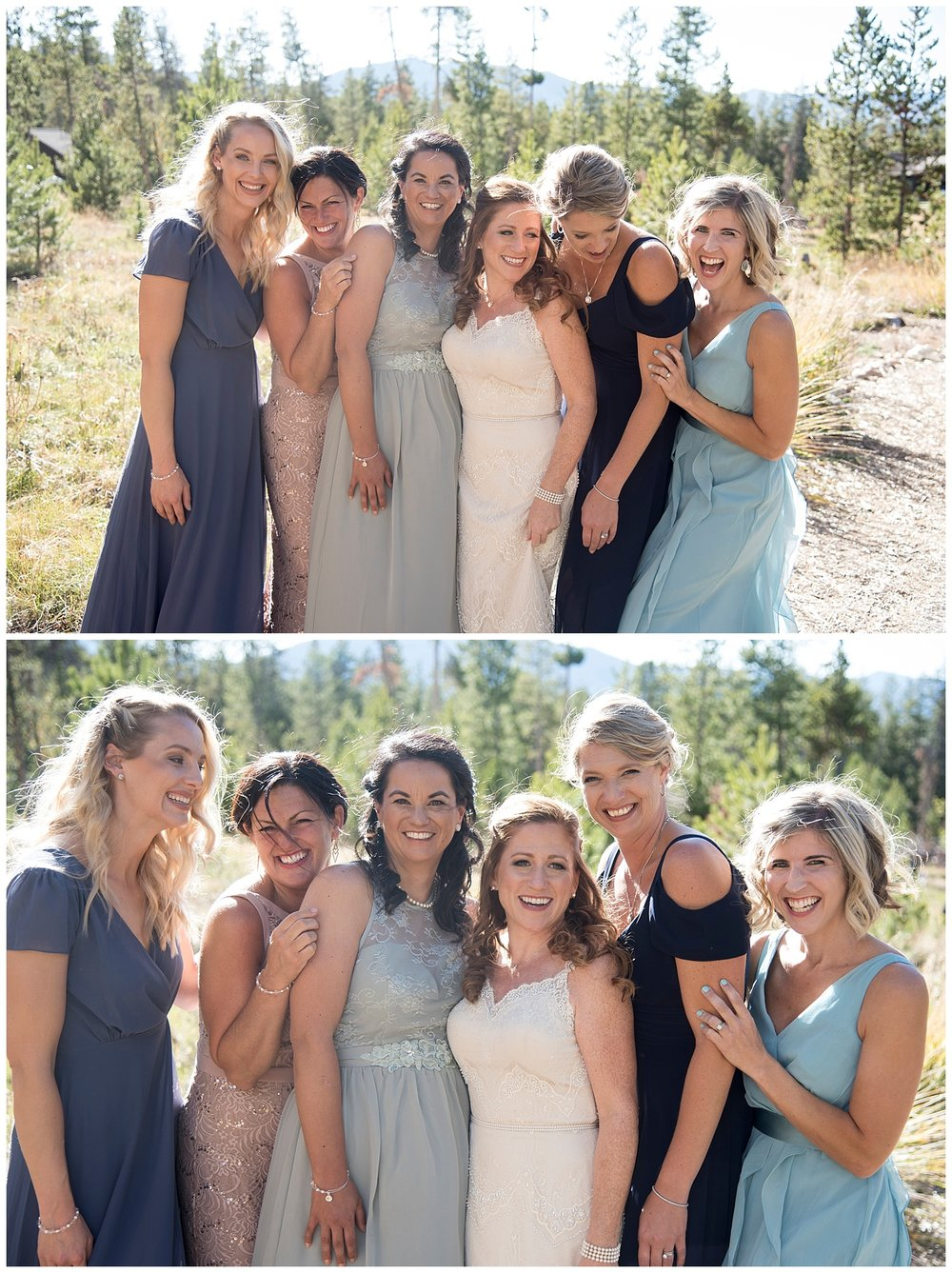 Bridesmaids Laughing | Carolyn and Shawn's Wild Horse Inn Wedding at Devil's Thumb Ranch | Fraser Colorado Photography | Farm Wedding Photographer | Apollo Fields Wedding Photojournalism