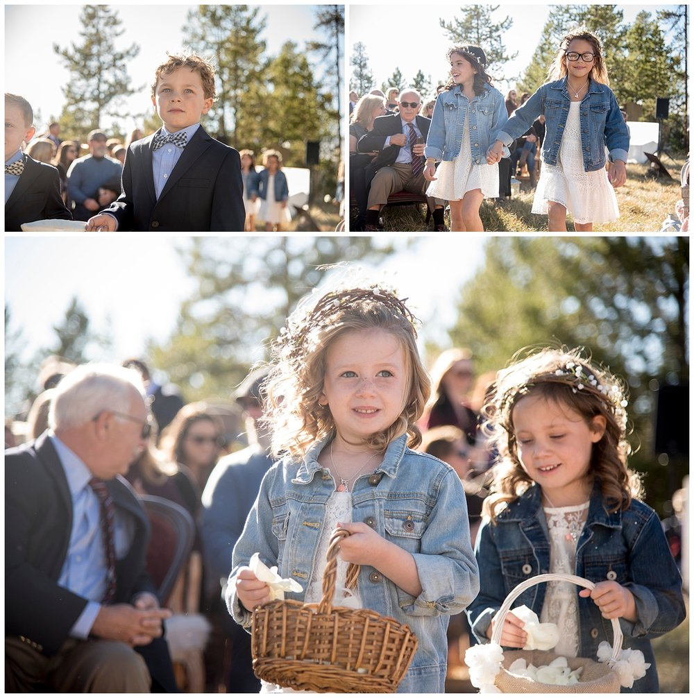 Collage of Flower Girls | Carolyn and Shawn's Wild Horse Inn Wedding at Devil's Thumb Ranch | Fraser Colorado Photography | Farm Wedding Photographer | Apollo Fields Wedding Photojournalism