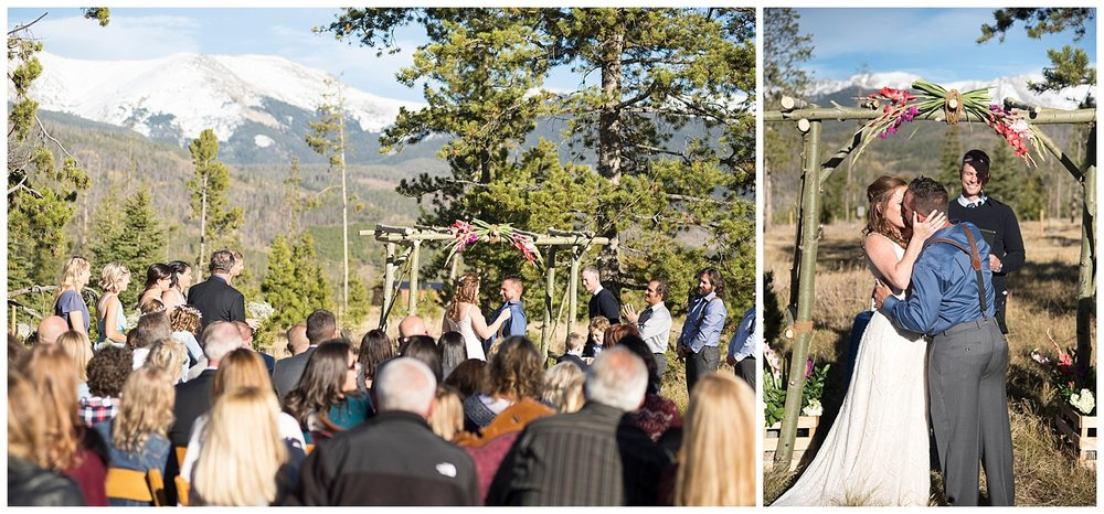Beautiful Mountain Ceremony | Carolyn and Shawn's Wild Horse Inn Wedding at Devil's Thumb Ranch | Fraser Colorado Photography | Farm Wedding Photographer | Apollo Fields Wedding Photojournalism