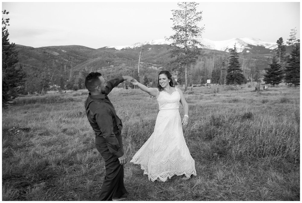 Real Couple Black & White Dancing | Carolyn and Shawn's Wild Horse Inn Wedding at Devil's Thumb Ranch | Fraser Colorado Photography | Farm Wedding Photographer | Apollo Fields Wedding Photojournalism