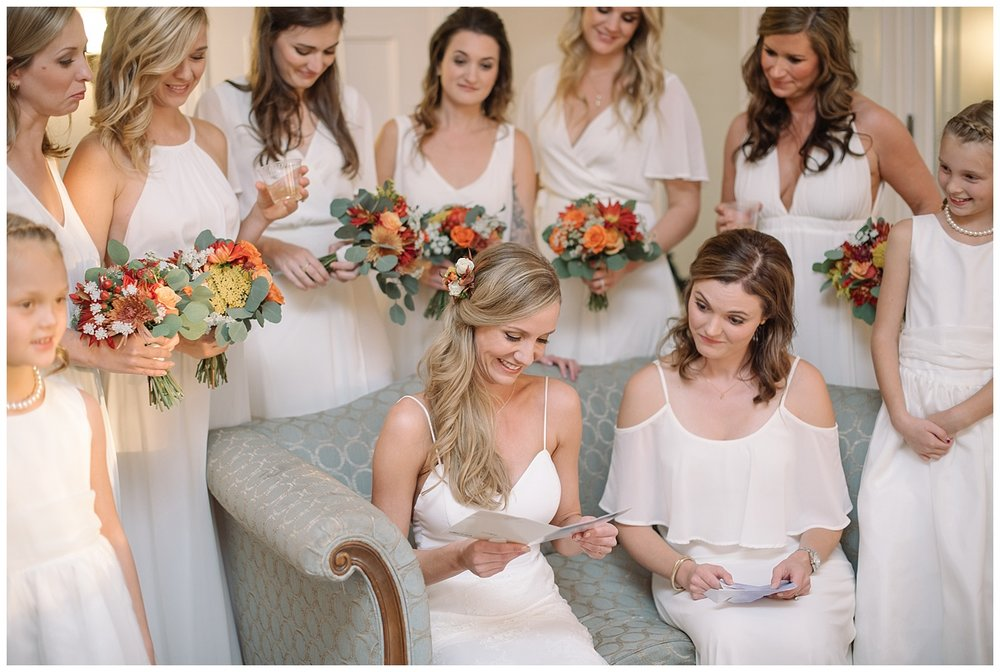 Bridesmaids Reading Vows | Lindsey and Jeff's Intimate Wedding at Grant Humphrey's Mansion | Denver Colorado Photographer | Farm Wedding Photographer | Apollo Fields Photojournalism